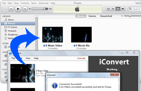 Sync video to iTunes.
